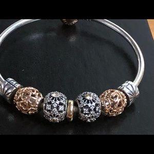 Pandora Jewelry - Pandora Rose Gold Clasp Bangle & Charms Shown